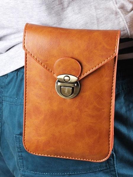 時尚薄款手機包男腰包6.5寸豎款5.5多功能掛腰皮套穿皮帶pu手機包 琪朵市集