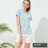 【JEEP】女裝 仙人掌造型印花短袖TEE-天空藍