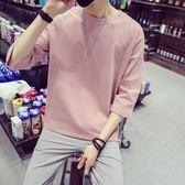 七分袖男t恤上衣長袖韓版潮流學生百搭bf寬鬆衣服個性五分袖     初語生活