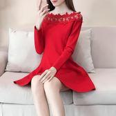 85折露肩洋裝早秋裝女2018新款紅色連身裙中長款一字肩蕾絲A字長袖韓版禮服裙開學季