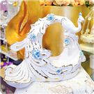 立體鎏金孔雀藍色浮雕花水果盤/盤飾/裝飾...