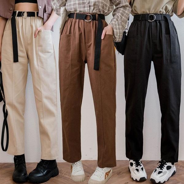 現貨-MIUSTAR 斜口袋前車線鬆緊腰附腰帶斜紋男友褲(共3色,M-L)【NJ0589】