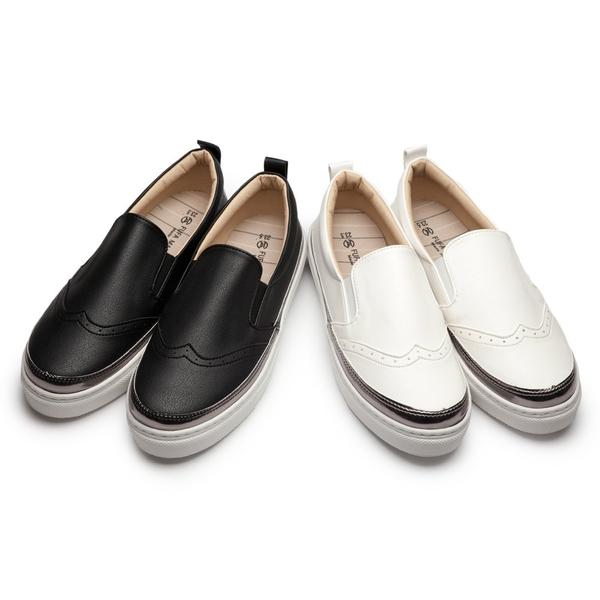 【富發牌】皮質滾銀邊雕花懶人鞋-黑/白 1BD27