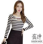 EASON SHOP(GW0835)實拍圓鐵圈緞帶設計挖洞鏤空短版圓領長袖針織衫女上衣服彈力貼身內搭衫顯瘦修身