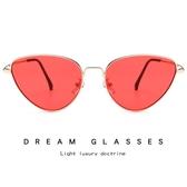 時尚眼鏡 創意款貓眼墨鏡 金屬太陽鏡【五巷六號】y8