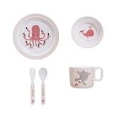 Bloomingville 海洋之心 淘氣海洋餐具組(粉)-盤子,碗,杯子,湯叉