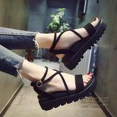 鬆糕厚底涼鞋女韓版交叉綁帶涼鞋羅馬坡跟涼鞋女鞋子「尚美潮流閣」