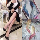 婚鞋銀色尖頭高跟鞋細跟漸變亮片中跟單鞋水晶伴娘新娘婚鞋女