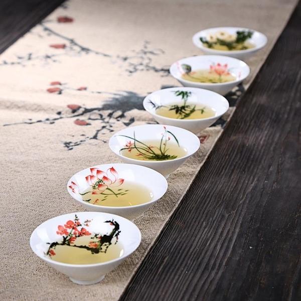 4個裝 青花瓷仿手繪斗笠功夫茶具小茶杯陶瓷品茗杯【聚寶屋】