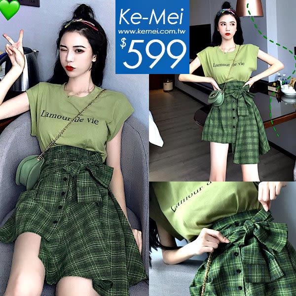 克妹Ke-Mei【ZT52417】歐美妞最愛抹茶色系字母T+格紋裙套裝