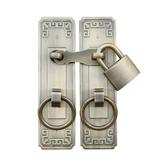 鎖扣插銷中式仿古純銅門栓搭扣柜門拉手大門把手全銅老式木門掛鎖