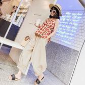 夏季新款吊帶小清新精神范心機波點棉麻闊腿褲網紅兩件套裝女