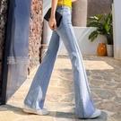 喇叭褲牛仔喇叭褲女21春秋高腰韓版寬鬆顯瘦垂感長褲微喇闊腿牛仔褲女 快速出貨