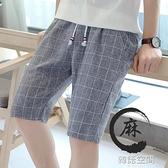 亞麻褲 休閒短褲男士夏季韓版潮流百搭亞麻格子五分褲2021新款寬鬆運動褲