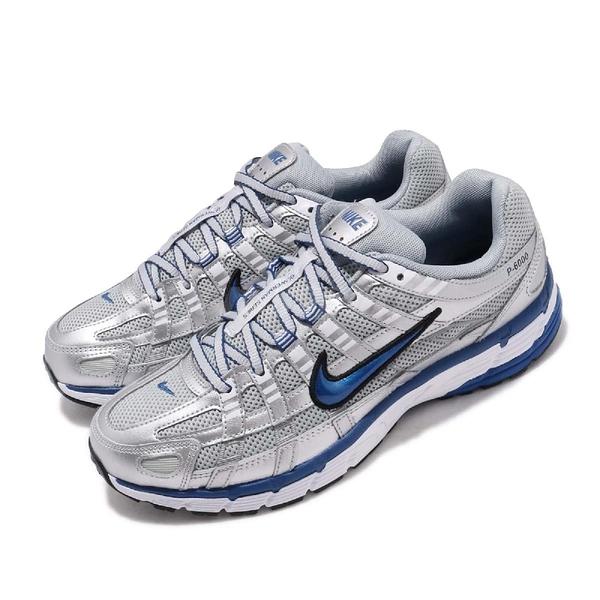 【六折特賣】Nike 復古慢跑鞋 Wmns P-6000 銀 藍 休閒鞋 女鞋 男鞋 運動鞋【PUMP306】 BV1021-001