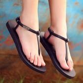 簡約防滑鐵牌平底女士人字拖 冬季學生羅馬涼鞋夾趾涼拖鞋 美芭