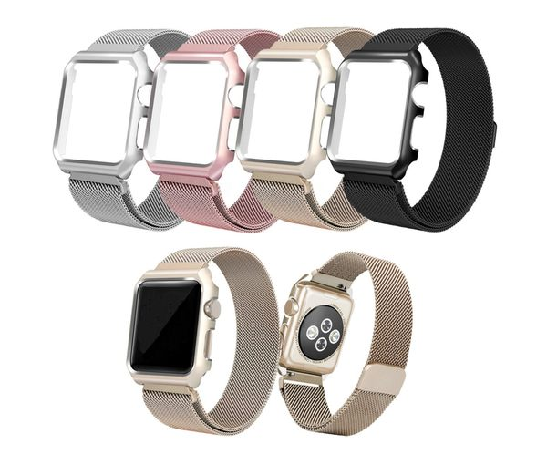 APPLE WATCH 42mm 38mm 44mm series 4 3 2 磁吸不銹鋼錶帶含框 米蘭尼斯錶帶 保護套