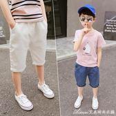 男童牛仔短褲夏裝新款兒童褲子中大童外穿薄款七分褲韓版童裝艾美時尚衣櫥