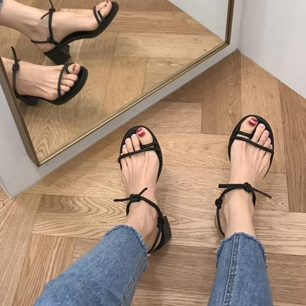 中跟涼鞋 韓國綁帶粗跟低跟夾趾百搭涼鞋露趾簡約交叉綁帶高跟鞋女 10-25
