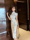 旗袍 少女旗袍2021年夏季新款氣質修身改良版年輕款長款開叉緊身連衣裙 夢藝家