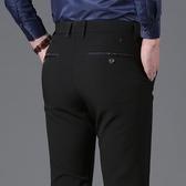 西裝褲 夏季新款商務休閒褲男直筒黑色西裝褲修身彈力男褲免燙長褲子男潮【快速出貨八折下殺】