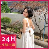 梨卡★現貨 - 女神款度假性感碎花後綁帶露背連身裙連身長裙沙灘裙洋裝C6355