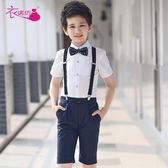 售完即止-兒童禮服花童主持人男童鋼琴演出服裝背帶褲合唱錶演套裝夏8-8(庫存清出S)
