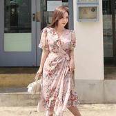 依二衣 洋裝 夏裝新款韓版氣質中長款系帶收腰雪紡印花荷葉邊連身裙
