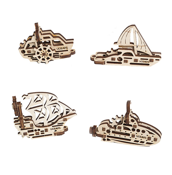 【海思】Ugears 手癢系列 Fidget - 手癢船船組 來自烏克蘭.橡皮筋動力.機械驚奇 ! 科學玩具