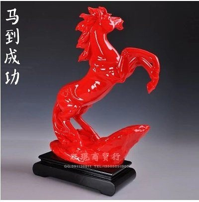 陶瓷紅馬擺件工藝品擺設