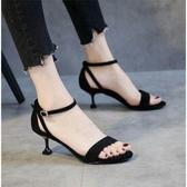 貓跟鞋名歐鳥涼鞋女夏季新款一字扣中跟細跟百搭貓跟女鞋 新品