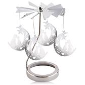 歐沛媞 旋轉燭罩蠟燭台-銀-月亮上的貓 加贈YANKEE CANDLE 香氛蠟燭49g