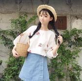 夏裝女裝韓版小清新花朵刺繡短款寬鬆棉麻短袖T恤半袖打底衫上衣 傑克型男館