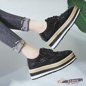 鬆糕厚底單鞋女韓國時尚雕花百搭布洛克漆皮小皮鞋潮 「尚美潮流閣」