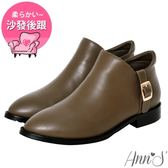 Ann'S低調日常-立體縫線顯瘦V型平底短靴-咖啡