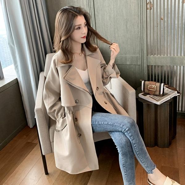 VK旗艦店 韓國風百搭寬松西裝領休閒收腰雙排扣風衣大衣單品外套