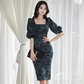 洋裝女2020年新款韓版OL氣質方領修身復古印花中長款包臀裙 雙十二全館免運