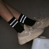2條裝長筒襪子女反光條紋潮街頭中筒襪薄款純棉男運動【小酒窩服飾】