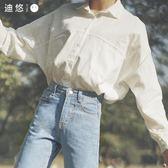 全館83折 襯衣女2018新款秋裝長袖chic上衣韓版學生bf白色襯衫外搭寬鬆韓范