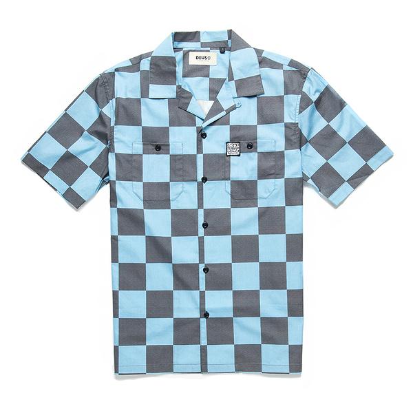 Deus Ex Machina Senna Check Shirt 短袖襯衫-(藍)