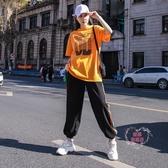 涼感嘻哈套裝女 運動休閒套裝女薄款夏季新款寬鬆短袖潮牌時尚嘻哈兩件套洋氣-快速出貨