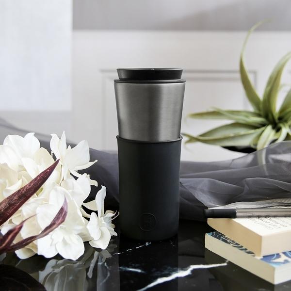 HYDY 午夜黑-鈦灰 兩用隨行保溫杯 450ml + 泡茶器