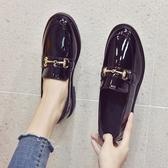 英倫風小皮鞋女新款春季韓版學生女鞋平底黑色豆豆鞋夏季(快速出貨)