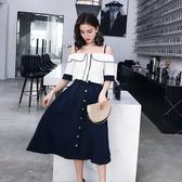 超殺29折 韓國風時尚吊帶襯衫棉麻A字裙套裝短袖裙裝