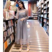 現貨 超仙溫柔風2019春季新款顯瘦網紗連衣裙打底蕾絲吊帶裙套裝 兩件套 長袖裙裝