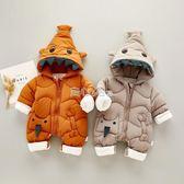 初生嬰兒冬裝加絨0-12個月新生兒衣服冬季加厚男女寶寶連體衣爬服   走心小賣場
