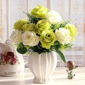 歐式仿真花束玫瑰絹花套裝擺件客廳餐桌塑料假花干花盆栽擺設花藝  喵小姐