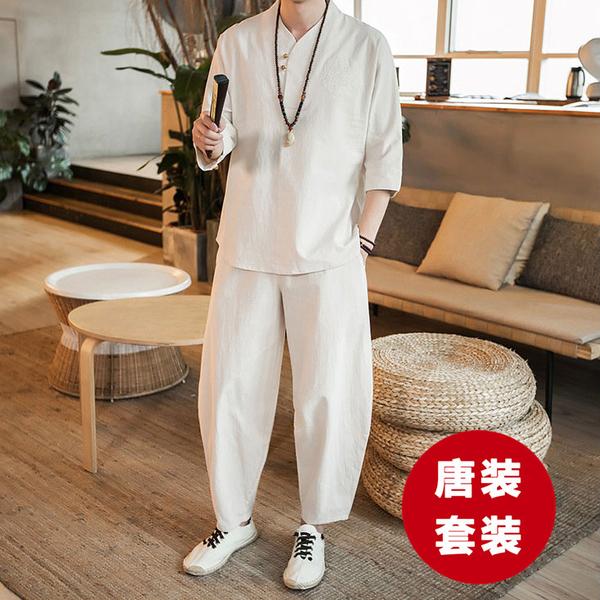 唐裝亞麻套裝 中國風男裝 改良式漢服居士服古裝棉麻茶服中式 民族服裝 降價兩天