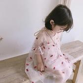 童品女童裝連身裙寶寶2019夏季超洋氣中童刺繡公主裙紗裙裙子