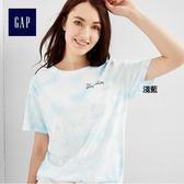 Gap女裝 舒適純棉休閒居家短袖T恤 335513-淡藍色